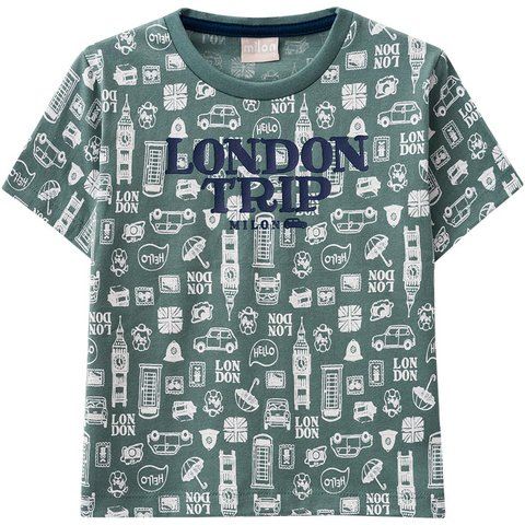 Camiseta Infantil Masculina Verde London Milon