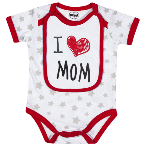 Body Infantil Unissex I love Mom Tip Top