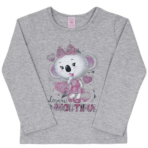 Blusa Infantil Cinza Lovers Beautiful Lilica Ripilica