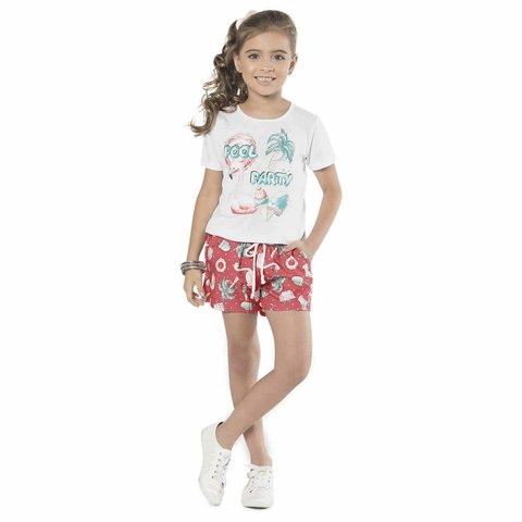 Conjunto Infantil Feminino Branco Pool Party Cativa