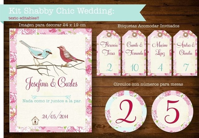 KIT SHABBY CHIC WEDDING - Pajaritorojo Happy Party