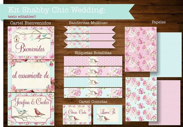KIT SHABBY CHIC WEDDING - comprar online