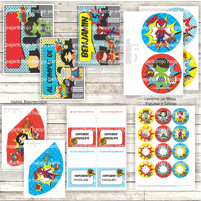 KIT SUPER HEROES - Pajaritorojo Happy Party