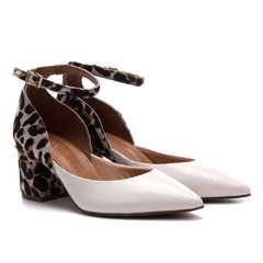 Scarpin Branco Com Animal Print