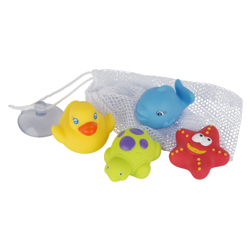 Set Baño (Red guardado + Juguetes) Bath Squirtees and Storage Playgro