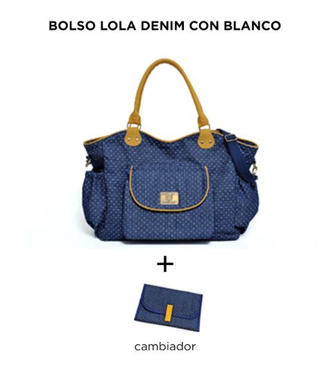 Bolso maternal Lola Denim con Blanco de Happy Little Moments
