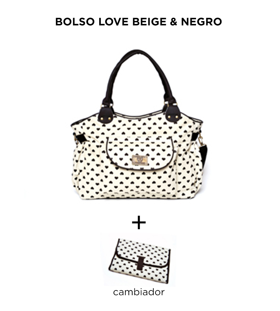 Bolso maternal Love Beige y Negro de Happy Little Moments