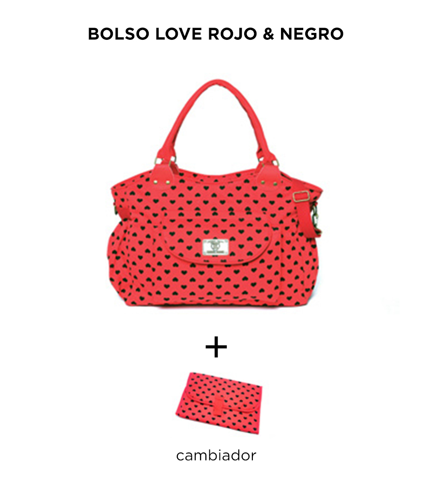 Bolso maternal Love Rojo y negro de Happy Little Moments