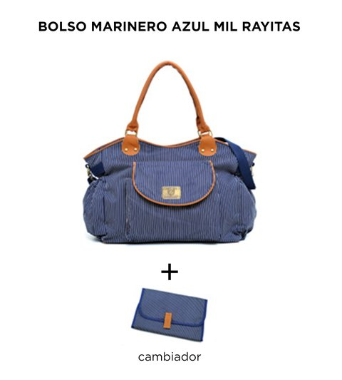 Bolso maternal Marinero Azul Mil Rayitas de Happy Little Moments