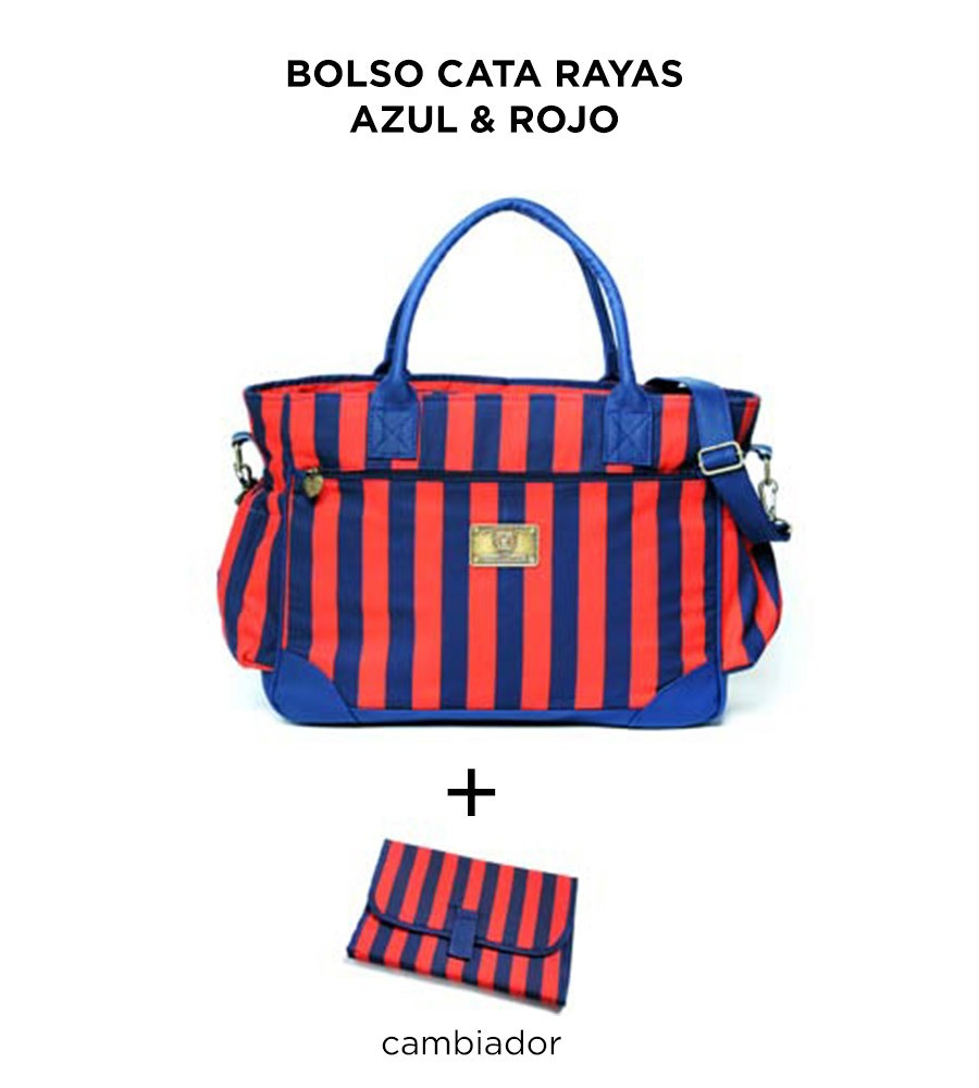 Bolso Cata Rayas Azul y Rojos de Happy Little Moments en internet