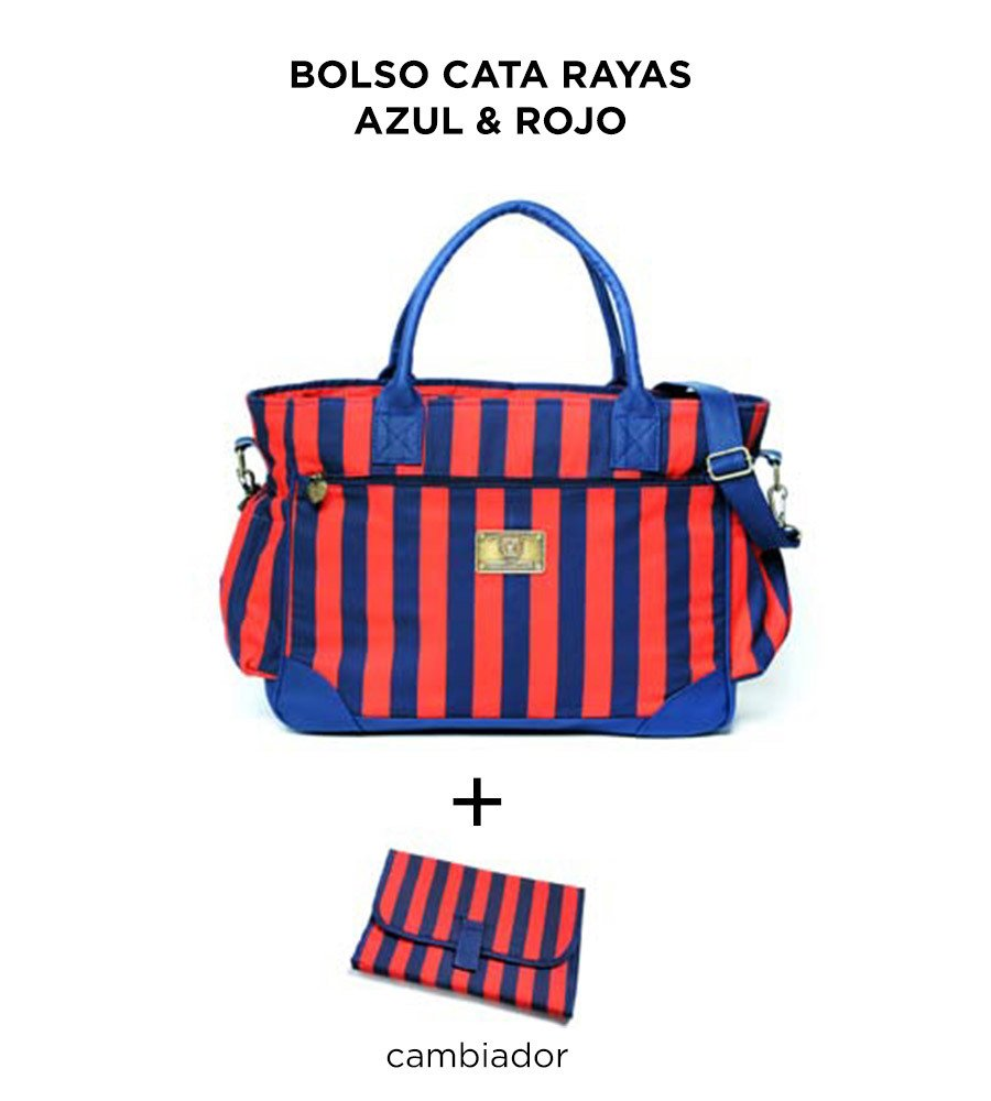 Bolso Cata Rayas Azul Rojo de Happy Little Moments - comprar online
