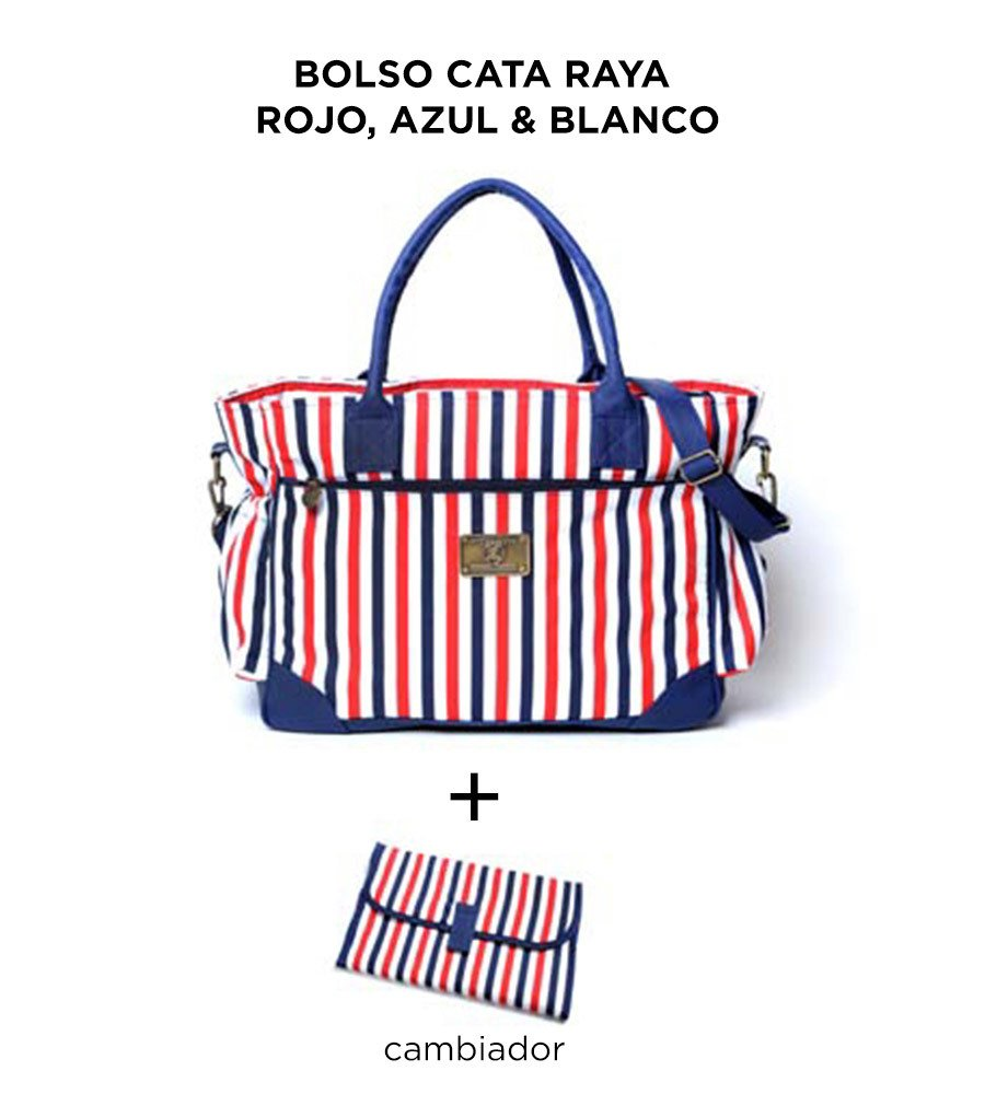 Bolso Cata Rayas Rojo Azul y Blanco de Happy Little Moments - comprar online