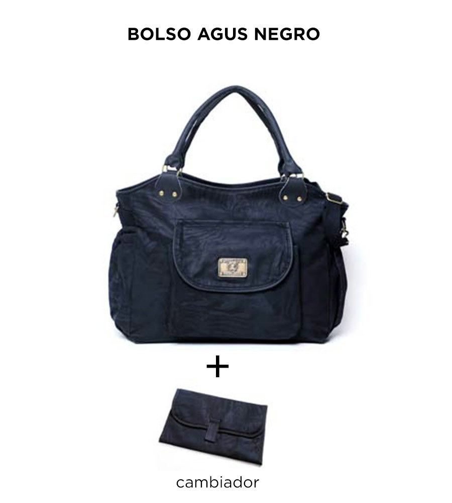 Bolso maternal Agus Negro de Happy Little Moments - comprar online