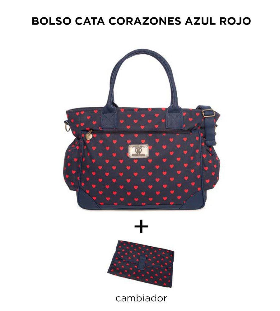 Bolso Cata Corazones Azul Rojo Happy Little Moments