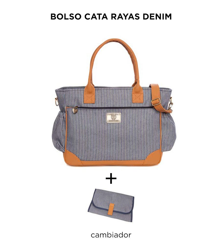 Bolso Cata Rayas Denim de Happy Little Moments - comprar online
