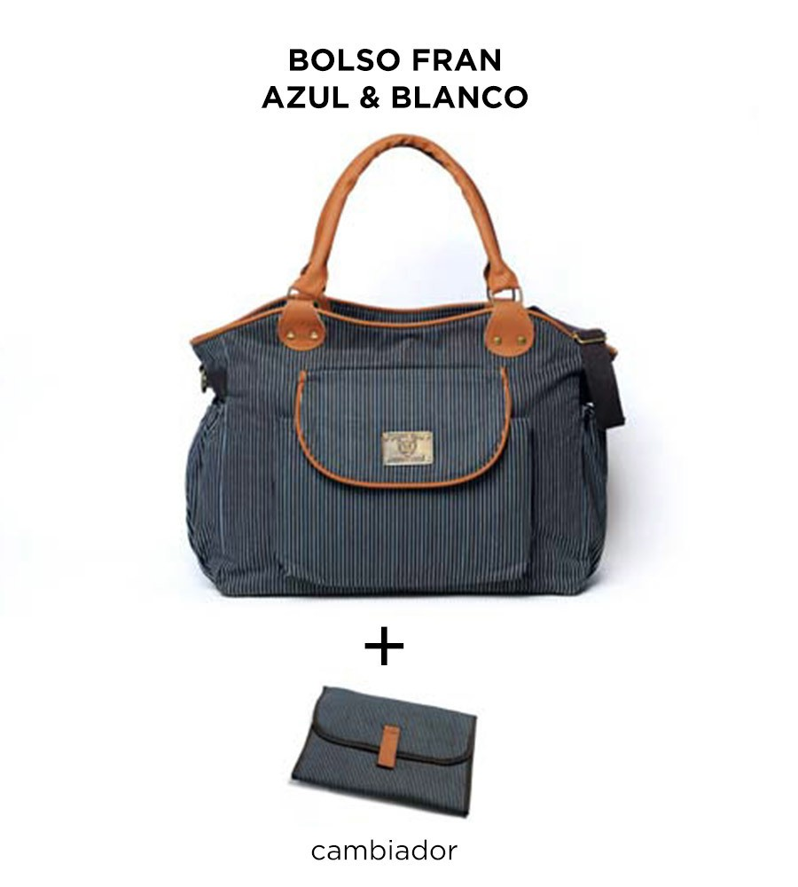 Bolso maternal Fran Azul y Blanco de Happy Little Moments - comprar online