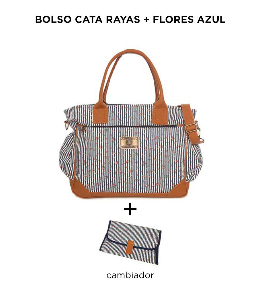 Bolso Cata Rayas Flores Azul Happy Little Moments - comprar online