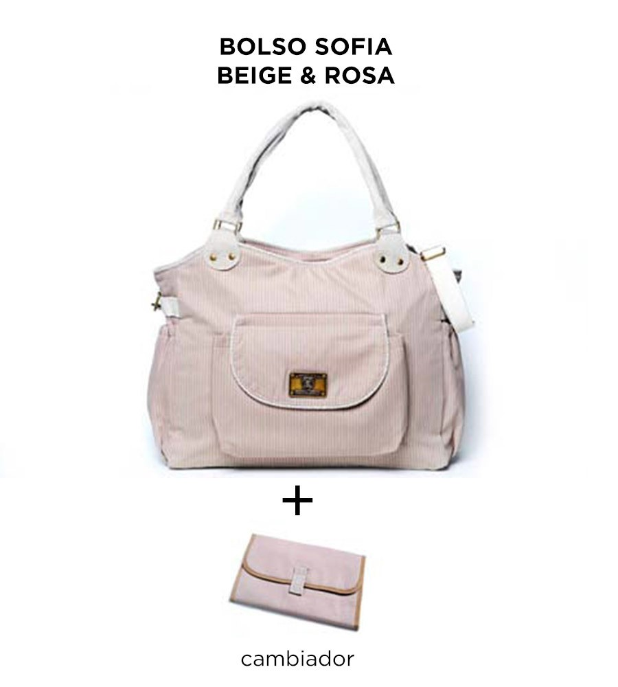 Bolso maternal Sofia Beige y Rosa de Happy Little Moments - comprar online