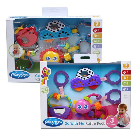 Gift Pack juguetes mordillos Playgro Go With Me Rattle Pack