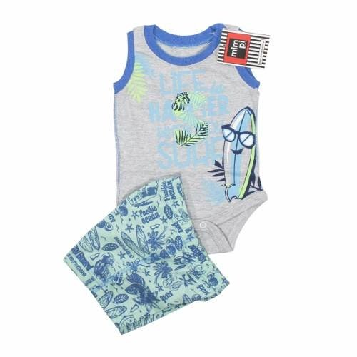 Conjunto Body Short Bebe Varón Surf Playa  Regalosdemama