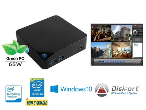 NVR Multimídia Digifort Centrium Security Pro CUBI Intel CORE I5 4GB 1TERA 16CAM 4K WiFi BT Windowns IP - 5015U3