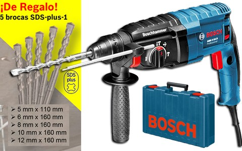 Taladro Rotomartillo Bosch GBH 2-24 D con SDS-plus + 5 brocas de regalo