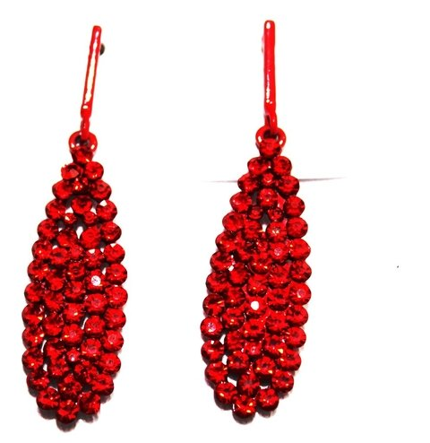 Brinco Red Strass Ô biju