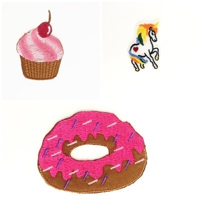 Kit  Com 3 Patches | Aplique Fashion em tecido termocolante DONUTS | UNICÓRNIO | CUPCAKE