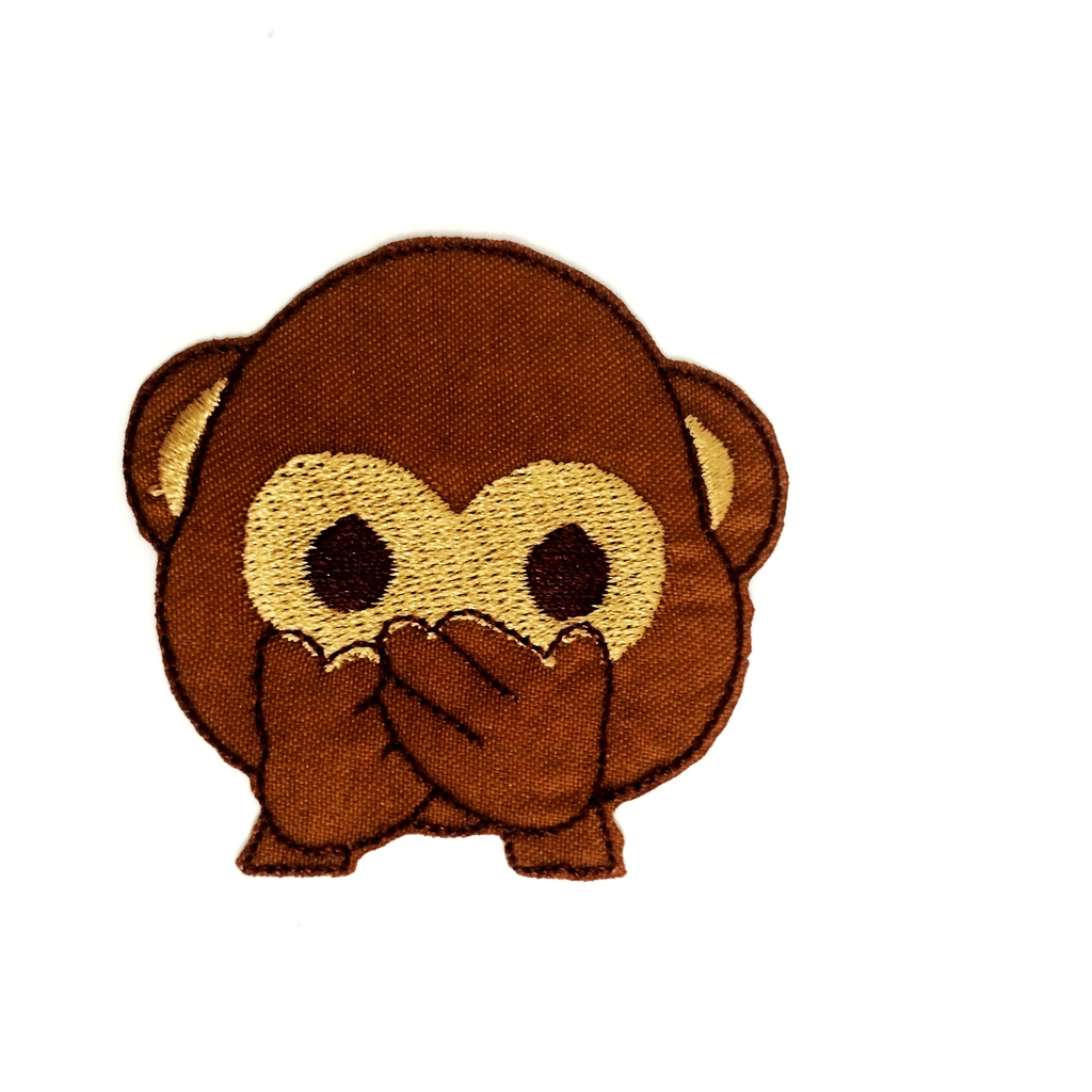 Patch Emoticon Macaco Mudo | Aplique Fashion em tecido termocolante