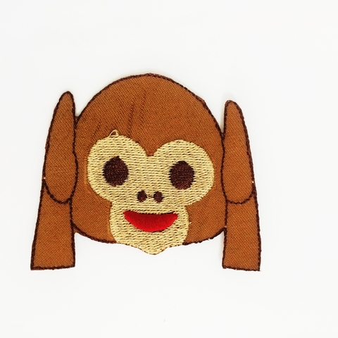Patch Emoticon Macaco surdo | Aplique Fashion em tecido termocolante
