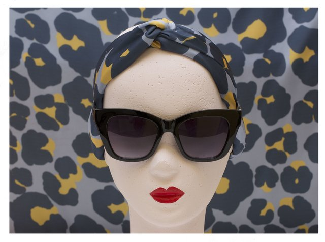 Turbante Mini Animal Print Gris - comprar online