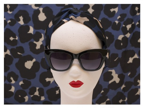 Turbante Mini Animal Print Azul - comprar online