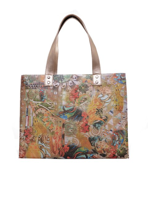 bolso playero art dorado