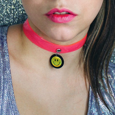 CHOKER PINK NEON - SMILEY
