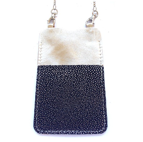 Mini Cartera Porta Celular Madison con Bolsillo - Iphone 5 & 6 - Smartphone - Cuero y cadena