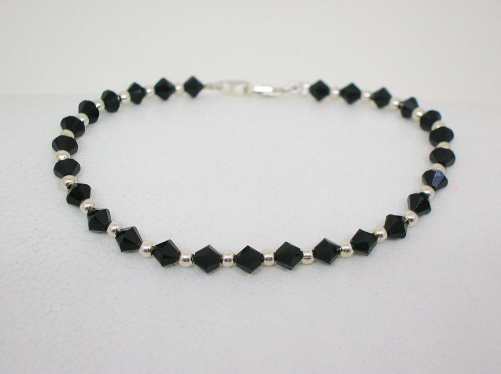 5eb852182476 Pulsera Cristal Swarovski y plata- Black