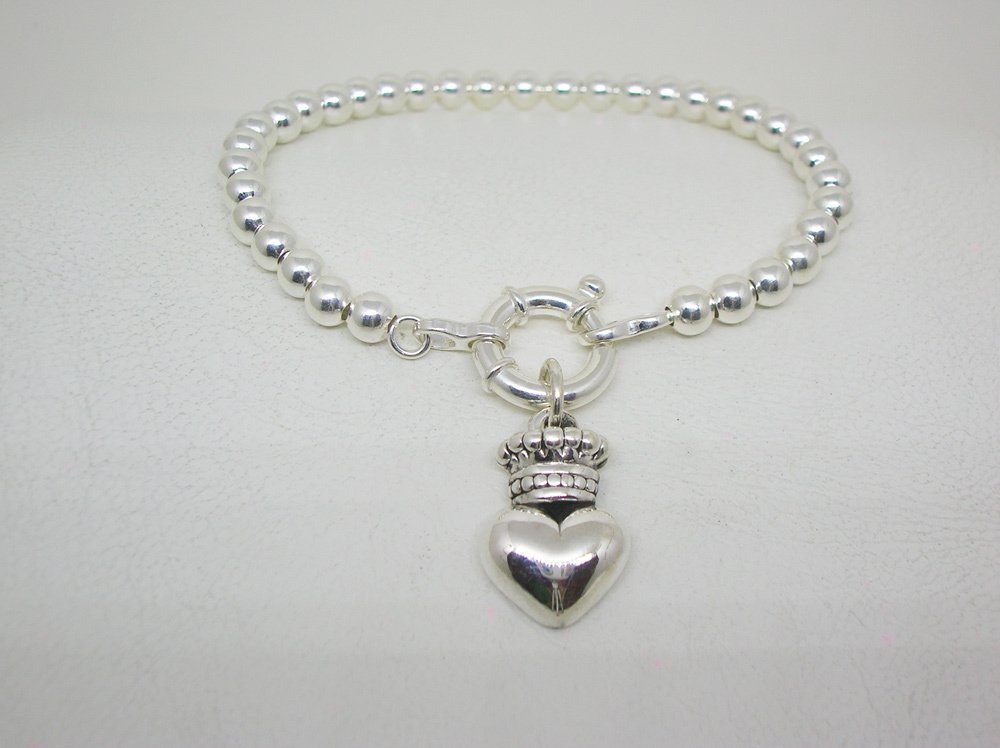 03108b6c9562 pulsera mujer plata corazon corona
