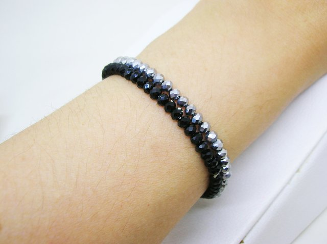 Pulseras Dúo- Black and Grey- Cristales