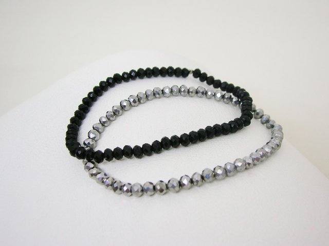 Pulseras Dúo- Black and Grey- Cristales - comprar online