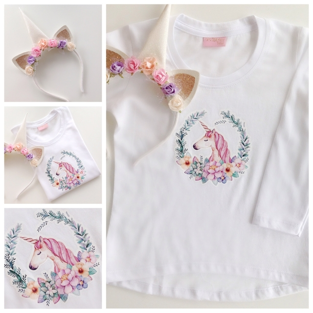 KIT REMERA UNICORN WHITE Y VINCHA - comprar online