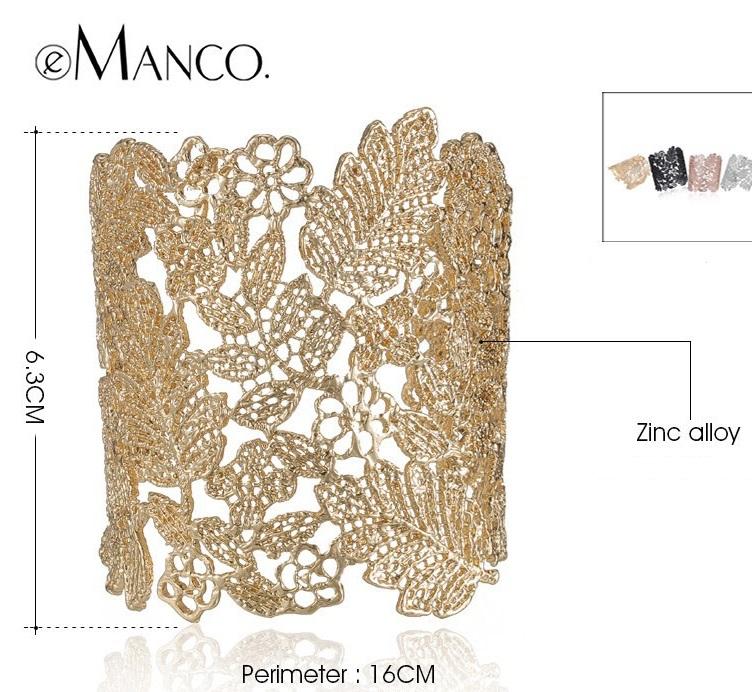 Bracelete maxi Renda dourado preto rose prata