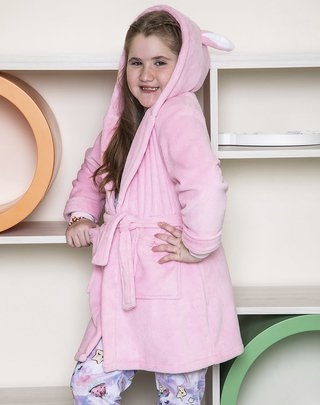 Bata coral fleece nena bordada Rabbit - BIANCA SECRETA