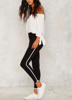 Leggings roma con vivo blanco