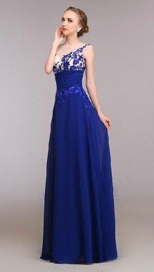 52ecaa961 Vestido longo de fest com detalhes em tule bordado. Cor azul royal escuro