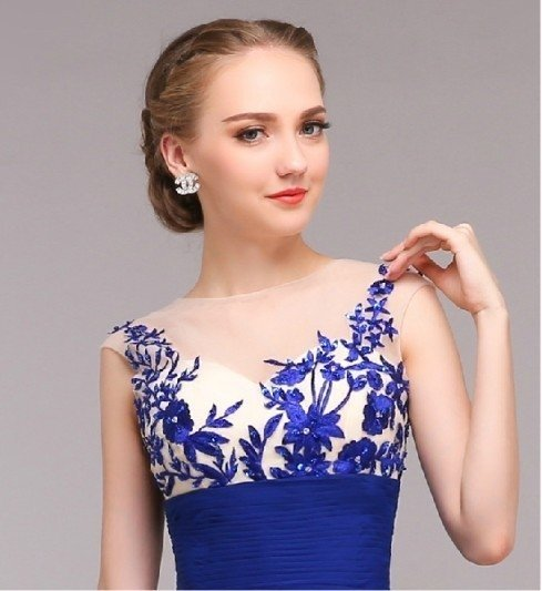 c5bd17d76 Vestido longo de fest com detalhes em tule bordado. Cor azul royal escuro.  0% OFF. 1