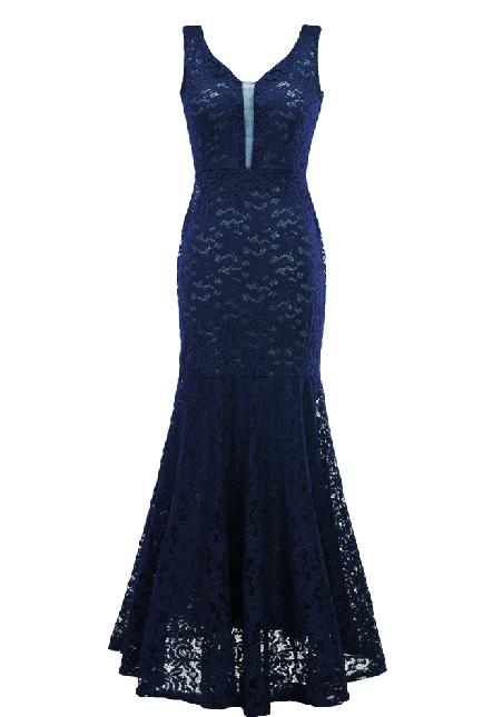 8bc3a6463fabb Vestido Longo De Festa Em Renda Madrinha Formatura azul escuro 1037