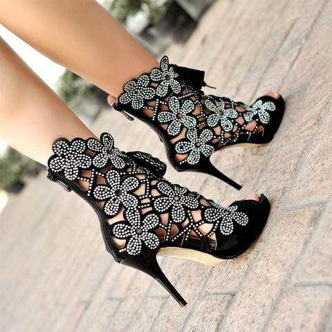 Sapato Pointed Toe Flowers Lace Up Stiletto