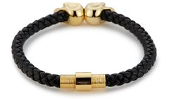 Bracelete Northskull Black Nappa Leather/ 18kt. Gold Twin Skull