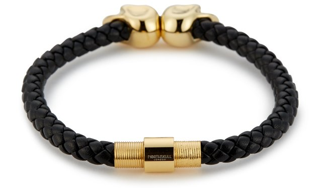Bracelete Northskull Black Nappa Leather/ 18kt. Gold Twin Skull - PRIME IMPORTADOS