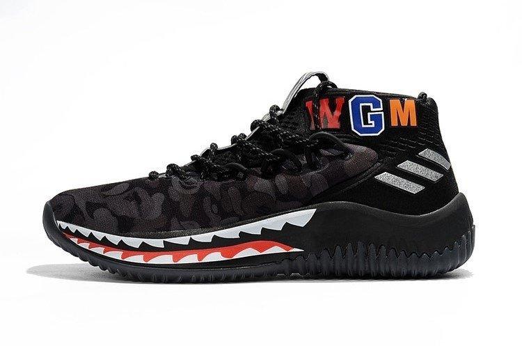 best website 008f3 0255a Tênis adidas Dame 4 Bape Green Camo Sneaker Damian Lillard